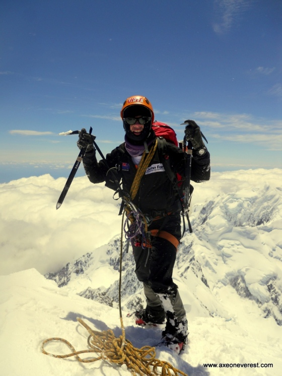 Grant 'Axe' Rawlinson on the summit of Aoraki/Mt Cook - 22 days and 19 hours after leaving the summit of Mt Ruapehu.